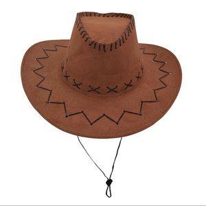 Western Wide Brim Brown Stitched Suede Cowboy Hat